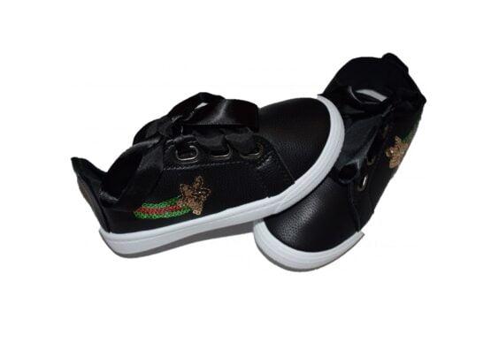 Adidasi negri pentru copii cu steluta aurie