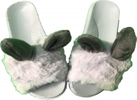 Papuci gri cu blanita