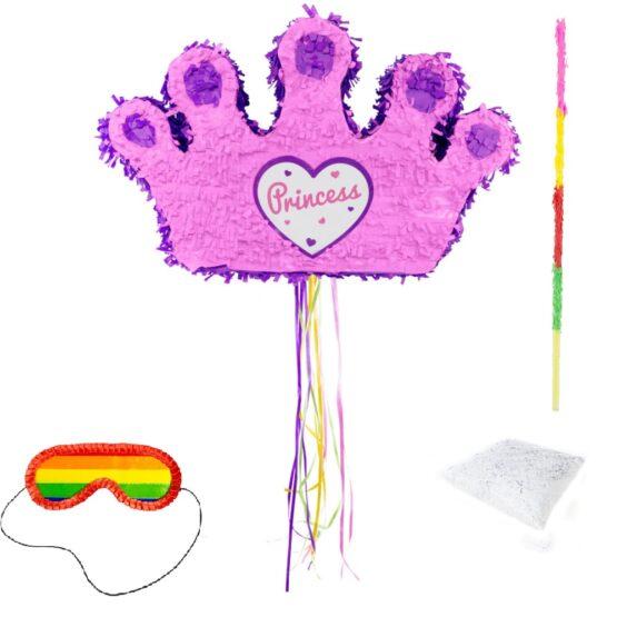 Set complet Pinata coroana roz + bat + ochelari + confetti