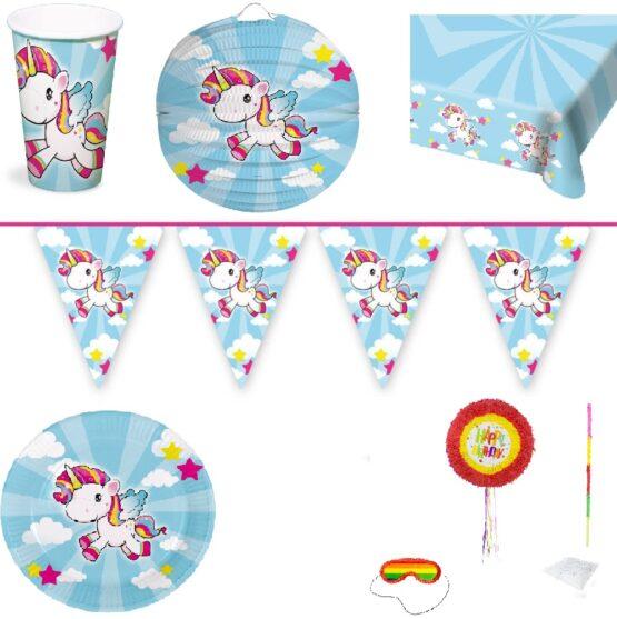 Set petrecere Unicorn : pinata , farfurii , pahare , lampioane