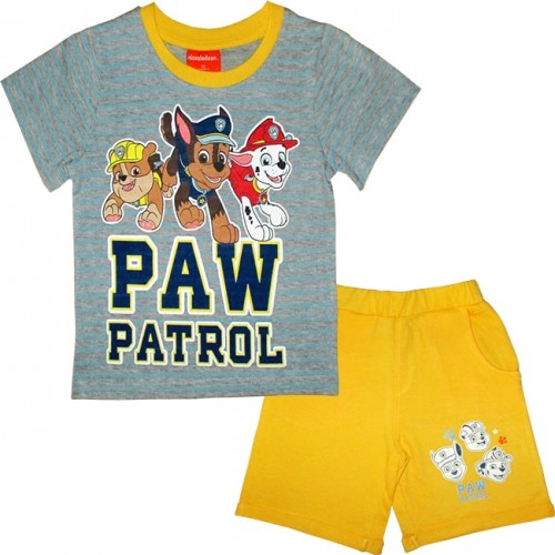 Trening galben pantalon scurt si tricou Paw Patrol